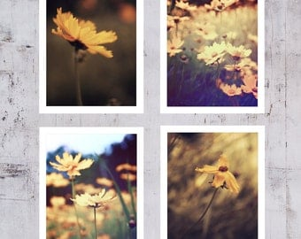 Fine art photography set of 4 Brown Sepia color Wall art Nature Fine prints set Yellow Flowers Girly wall decor Romantic Flower photography