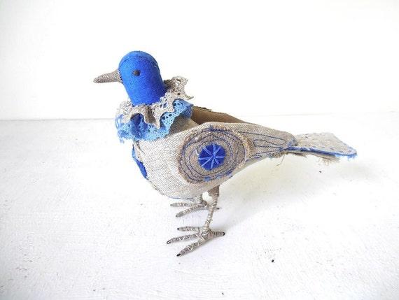 Bird Sculpture Textile Art Home Decor Blue Gray Linen Fabric