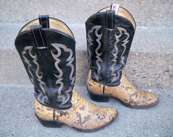 Vintage Cowtown Exotic Snake Skin Leather Riding Biker Cowboy Western Men's Boots Size 8.5 Made in USA