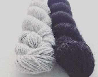 Alpaca Yarn, Black and Gray, 200 yard Skein, DK weight, 3 ply, Soft Yarn