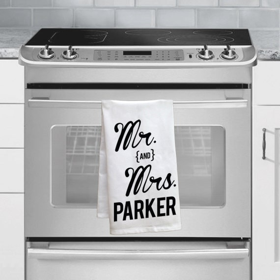 ... Wedding Gift Idea Custom Mr and Mrs Tea Towel Custom Kitchen Decor