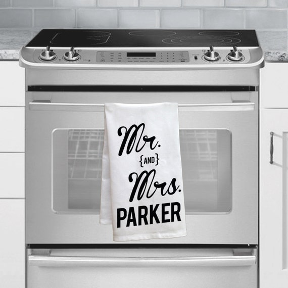 Personalized Wedding Gifts Kitchen : ... Wedding Gift Idea Custom Mr and Mrs Tea Towel Custom Kitchen Decor
