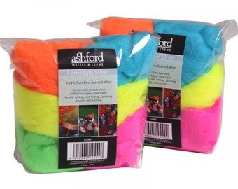 Felting wool palette kit, corriedale 3.5 oz, Color: Neon