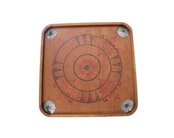 Antique Large Wooden Two-Sided Carrom Chess Checkers Game Board
