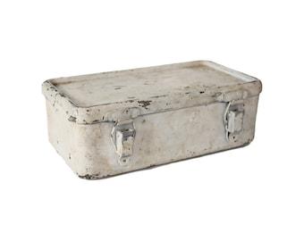 Vintage White Metal First Aid Kit Box