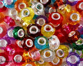 Clearance! Colorful Acrylic Large Hole Euro Beads, Package of 100