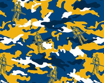 WVU Mountaineer fabric, all cotton, by the yard, 44/45 inches across