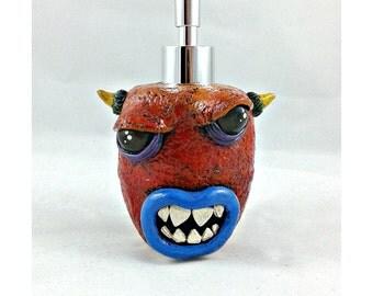 Horned Demon Soap Dispenser, polymer clay soap pump