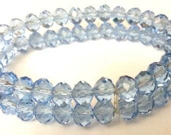 Beaded Light Blue Stretch Bracelet