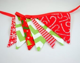 Red Green Chevron Stripe Tree Snowflake Christmas Pennant Bunting Banner