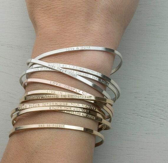 Personalized Cuff Bracelet Inspirational By Layeredandlong