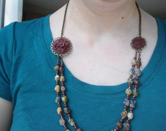 Fall colors necklace: Asymmetrical faceted jasper burgundy flower cabochon bib necklace antique brass Vintaj chain and metal components