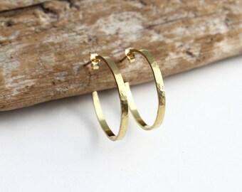 Hammered gold hoop earrings. 14k gold hoop earrings. Solid gold hoop earrings. 14k gold hoops. Rustic unique gold post earrings. Medium