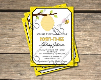 Ba-BEE Bumble Bee Baby Shower Invitation_Yellow - 5x7