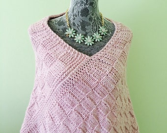 Pink Knit Poncho-Knit Poncho-Pink Poncho-Hand Knit Poncho - Soft Poncho-Women Poncho-Boho Clothes-Warm Poncho-Boho Poncho-Gift for Her