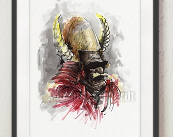 Samurai Helmet Painting, Japanese Style Poster, Warrior Wall Decor, Samurai Armor Print