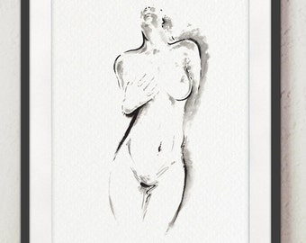 Naked Woman Erotic Abstract Girl Art Print Black and White Woman's Body Illustration, Sensual Men Gift Idea Poster, Sumi-e Japanese Painting