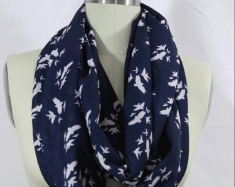 Navy blue infinatiy scarf with white birds