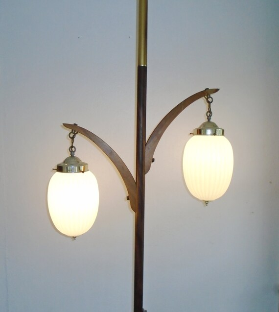vintage mid century modern 2 arm iridescent globe tension pole. Black Bedroom Furniture Sets. Home Design Ideas