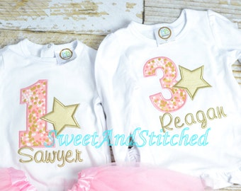 Pink and Gold Girl First (1st) Birthday Star Outfit Personalized! -  Girl Star Birthday Shirt or outfit, Star Birthday Outfit