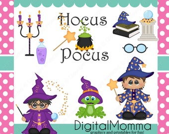 Hocus Pocus Boy Wizard, Witch Craft Clipart Set, personal & Commercial Use, Halloween Clipart, .PNG, Instant Download!