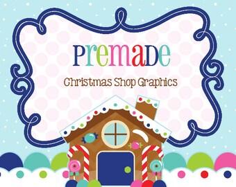 Premade Gingerbread House Christmas Shop Graphics