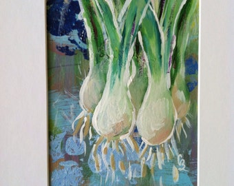 Green Onions original acrylic painting
