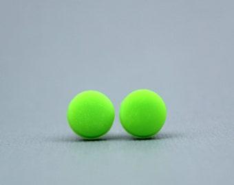 Neon green studs, Neon earrings, Neon green earrings, Fluorescent green studs, fluro green earrings, festival earrings, bright green studs