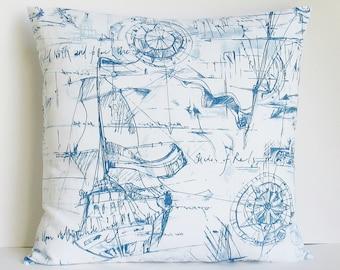 Nautical Pillow Cover Navy White Decorative Throw 16x16 18x18 20x20 22x22 12x16 12x18 12x20 14x22 Lumbar Sofa Zipper
