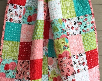 Ready to ship modern baby quilt, toddler quilt, Lil Red quilt, Red Riding Hood quilt, pink, red, aqua, white green, brown baby patchwork