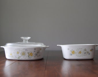 Vintage Corning Ware Casserole Dishes French Bisque Pattern 2 qt, 1.5 qt