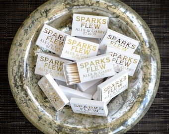 Sparks Flew Custom Wedding Matches, Personalized Sparkler Matches, Custom Matchbook Wedding Favors, Custom Printed Matches