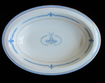 """Lamberton Puritan 10"""" Serving Bowl Vintage Oval French Country Style Vegetable Dish Ivory China Blue and Yellow Gold Trim Laurel Garland USA"""