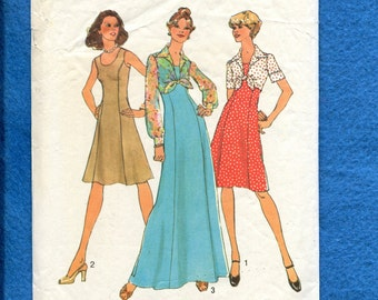 Vintage 1974 Simplicity 6761 Slimming Princess Seams Dresses & Tied Midriff  Jacket Size 10