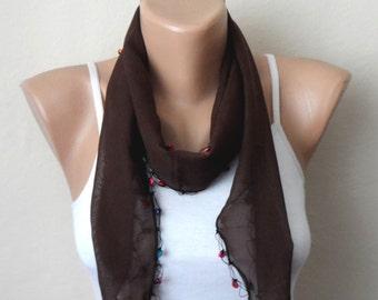 brown scarf white flower blue purple pink beads  cotton turkish yemeni oya handmade
