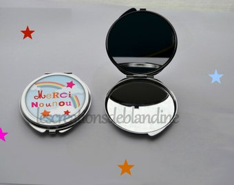 """double Pocket mirror """"special nanny"""" cabochon resin 40mm"""