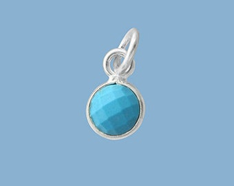 1ea. Tiny 6mm Turquoise Bezel Pendant.  Sterling Silver with 5mm Jump Ring Birthstone
