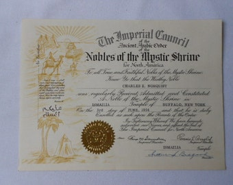 "Vintage Shriner's Certificate Ancient Arabic Order ""Nobles of the Mystic Shrine"" Ismalia Temple"