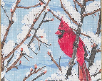 Handpainted Needlepoint Sandra Gilmore WINTERS Jewel Cardinal 18M - Free US Shipping!!