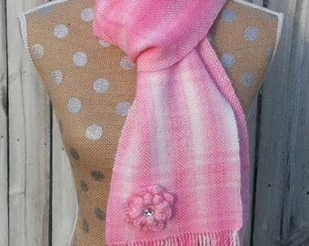Scarf, Handwoven Scarf,  Pink and White