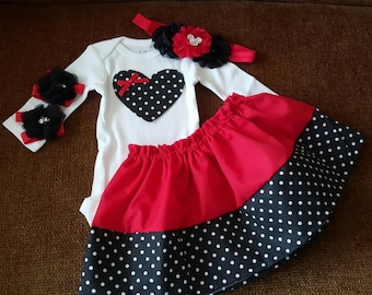 Minnie Mouse Inspired. 4 PIECES.  Baby Girl Gift Set. Black and Red Baby skirt. POLKADOT. Minnie baby headband. Baby clothes.