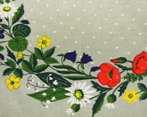 RARE Swedish retro vintage 1960s large cotton tablecloth with multicolor Swedish summer-flower circle Peter design motive on beige bottom