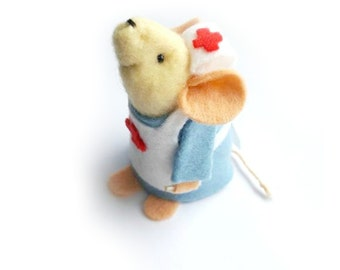 Get Well Soon Nurse - Homemade felt mouse, for her or for him to put a smile on there faces, may appeal to medical or science mice lovers