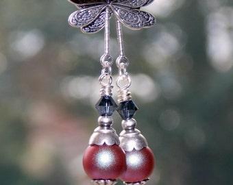 Vintage Swarovski Earrings, Iridescent Red Swarovski Pearl Earrings, Victorian Style Earrings, Boho, Handmade Earrings, Dragonfly Earrings