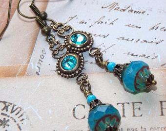 Turquoise Drop Earrings, Czech Glass Earrings, Victorian Style Earrings, Boho Earrings, Dangle Earrings, Vintage Earrings, Handmade Earrings
