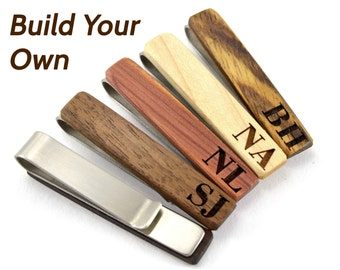 Custom Wooden Tie Clip - Wood Groomsmen Tie Clip - Wooden Tie Clip Gifts for Him - Engraved Tie Clip Set -Christmas Tie Clips Grooms Tie Bar