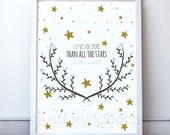 I Love You More Than All The Stars - Nursery Wall Art - Playroom Poster - Poster Nursery Art, Alphabet Poster - 24-0001