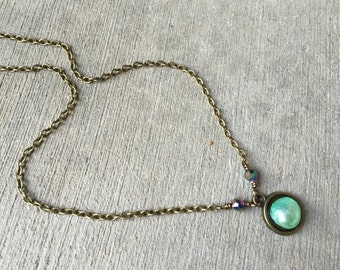 necklace, pearl necklace, layering necklace, dainty, romantic necklace, **BEAUTIFUL** green pearl and brass, crystal necklace