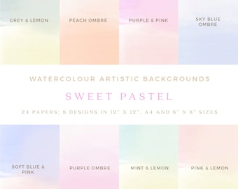 "Sweet Pastel Watercolour Background Digital Papers - Design Resource - 12""x12"" printable, commercial use"