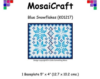 MosaiCraft Pixel Craft Mosaic Art Kit 'Blue Snowflakes' (Like Mini Mosaic and Paint by Numbers)